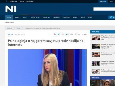 """N1: """"Psihologinja o najgorem savjetu protiv nasilja na internetu"""""""