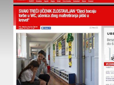 """INDEX.HR: """"SVAKI TREĆI UČENIK ZLOSTAVLJAN """"Djeci bacaju torbe u WC, učenica zbog maltretiranja piški u krevet"""""""