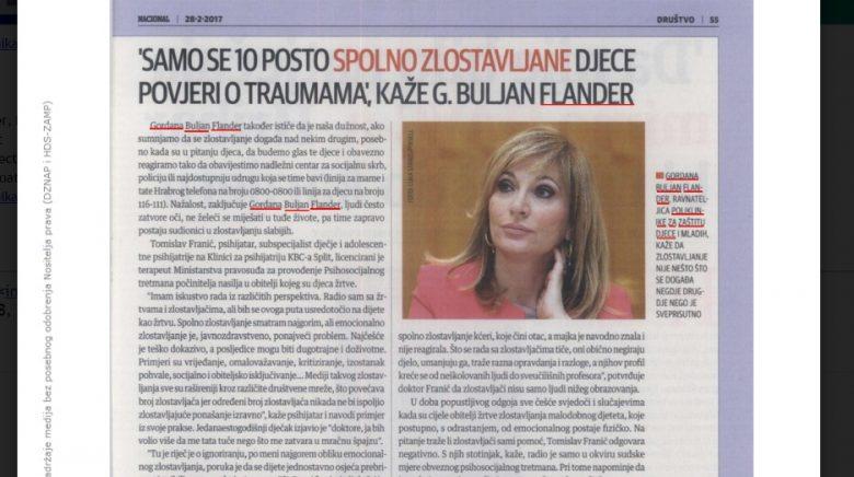 """NACIONAL: """"U Hrvatskoj zlostavljanje trpi sto tisuća djece"""""""