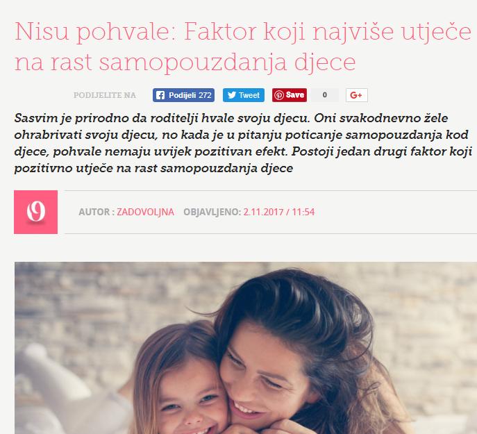 """Zadovoljna.hr: """"Faktor koji najviše utječe na rast samopouzdanja djece"""""""