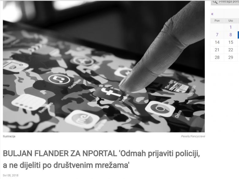 N portal:'Odmah prijaviti policiji, a ne dijeliti po društvenim mrežama'