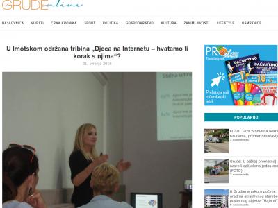 """Grude Online: U Imotskom održana tribina """"Djeca na Internetu – hvatamo li korak s njima""""?"""