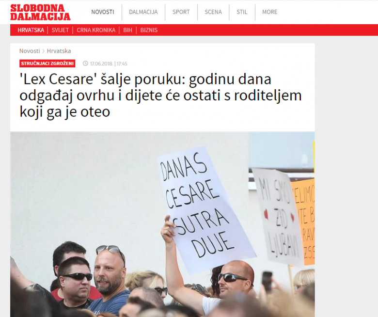 "Slobodna Dalmacija: ""Experts mourned: 'Lex Cesare' sends a message: a one-year delay in execution and a child will stay with a parent who kidnapped him"""