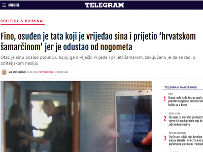 """TELEGRAM.HR: """"Osuđen je tata koji je vrijeđao sina i prijetio 'hrvatskom šamarčinom' jer je odustao od nogometa"""""""
