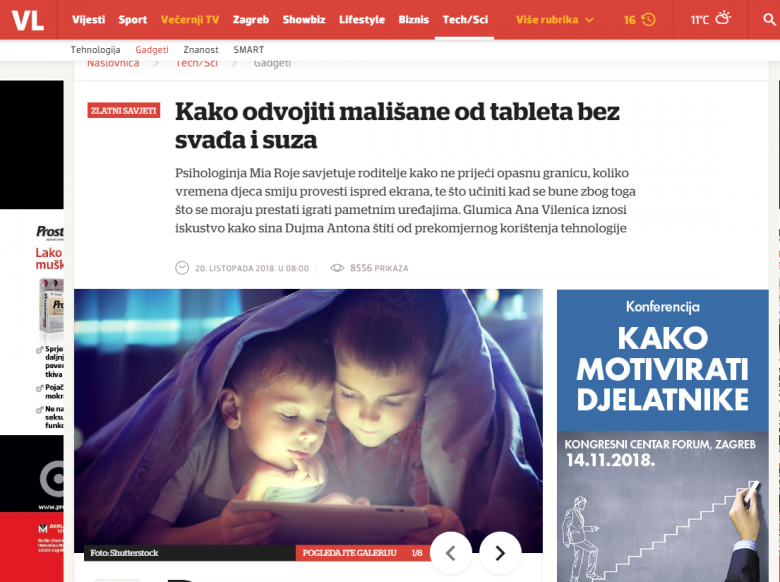 "Večernji list: ""How to separate small children from the tablet without arguing and tears"""