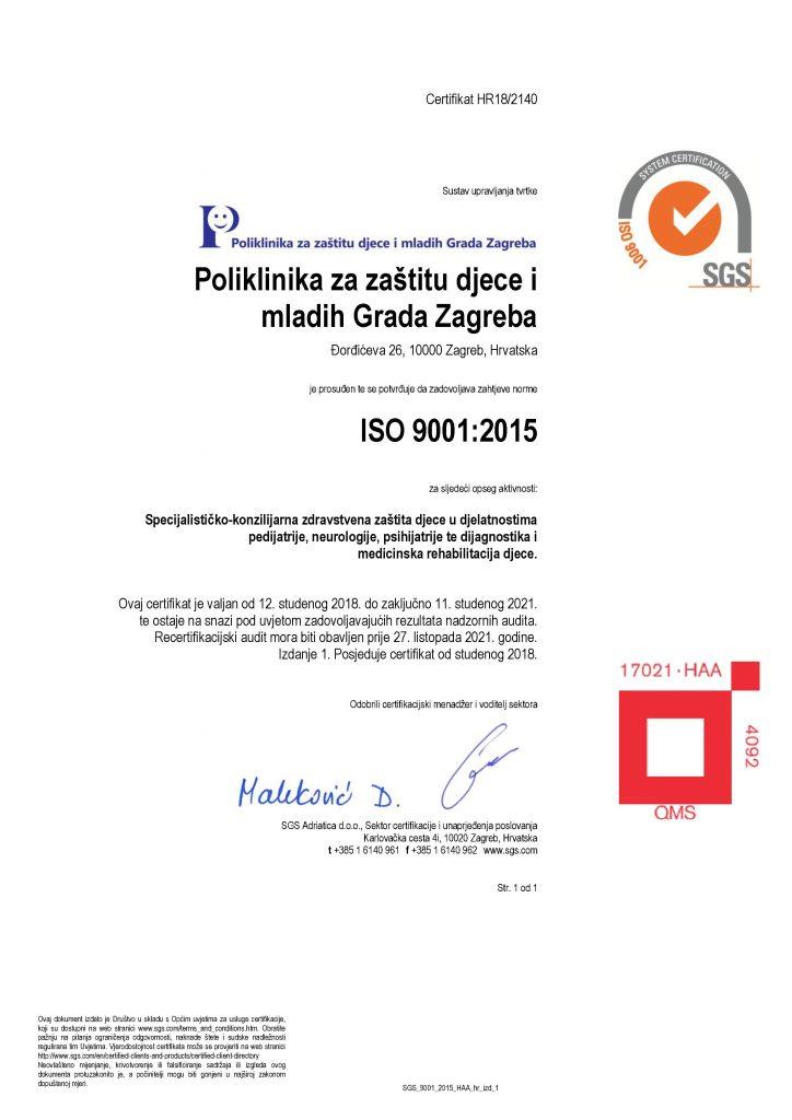 Poliklinika za zaštitu djece, ISO 9001