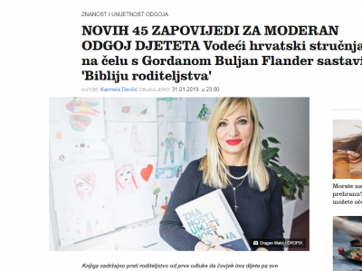 "Jutarnji list: 45 NEW RULES FOR MODERN UPBRINGING – Leading Croatian Experts Lead By Gordana Buljan Flander Have Put Together a ""Bible Of Parenting"""