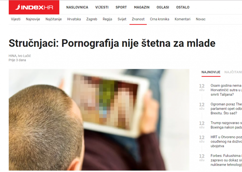 Croatian News Agency (HINA): Pornography By Itself Isn't Harmful For Youth, Unless It Relates To Violence Or Abuse