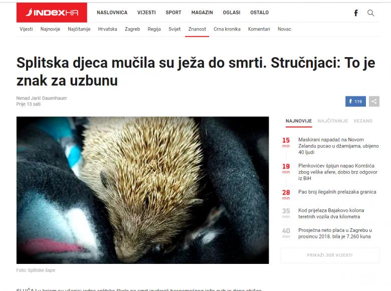 """INDEX: """"Splitska djeca mučila su ježa do smrti. Stručnjaci: To je znak za uzbunu"""""""