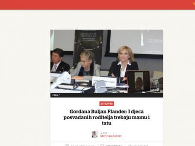 """Večernji list: """"Gordana Buljan Flander: I djeca posvađanih roditelja trebaju mamu i tatu"""""""