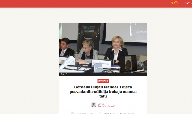 "Večernji list: ""Gordana Buljan Flander: Children of Parents in Conflict Need Both a Mom and a Dad"""
