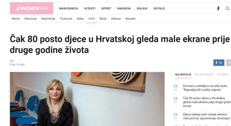 """INDEX: """"Čak 80 posto djece u Hrvatskoj gleda male ekrane prije druge godine života"""""""
