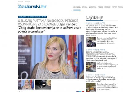 """Zadarski.hr: """"O SLUČAJU PUŠTANJA NA SLOBODU PETORICE OSUMNJIČENE ZA SILOVANJE Buljan Flander: """"Zbog straha i nepovjerenja neke su žrtve znale povući svoje iskaze"""""""