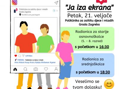 """Poziv na radionice """"Ja iza ekrana"""" za djecu i mlade u Poliklinici povodom 13. tjedna psihologije u Hrvatskoj"""