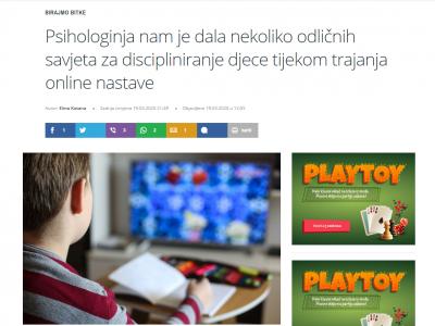 """T portal: """"Psihologinja nam je dala nekoliko odličnih savjeta za discipliniranje djece tijekom trajanja online nastave"""""""