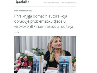 """T portal: """"Prva knjiga domaćih autora koja obrađuje problematiku djece u visokokonfliktnom razvodu roditelja"""""""
