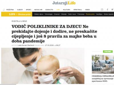 """Jutarnji.hr: """"VODIČ POLIKLINIKE ZA DJECU Ne prekidajte dojenje i dodire, ne preskačite cijepljenje i još 8 pravila za majke beba u doba pandemije"""""""
