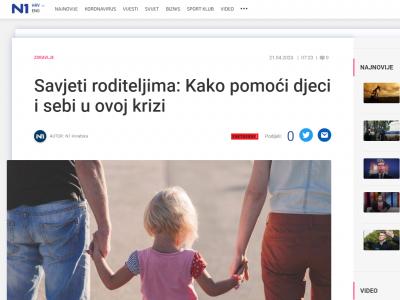 """N1: """"Savjeti roditeljima: Kako pomoći djeci i sebi u ovoj krizi"""""""