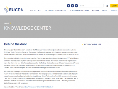 "Our Campaign ""Behind The Doors"" On the Portal of the European Crime Prevention Network"