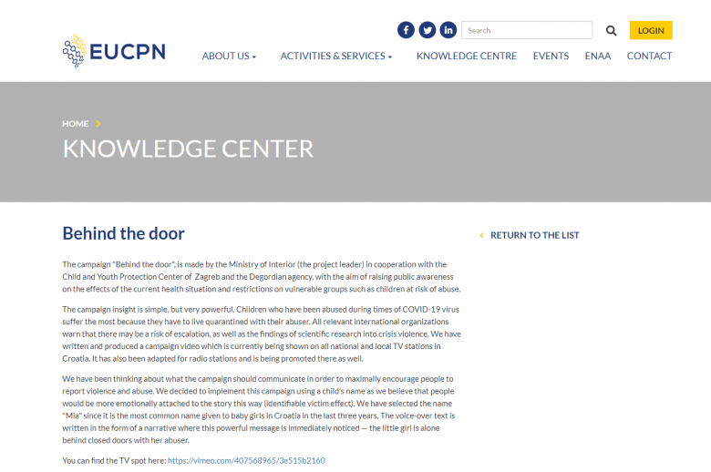 "Our Campaign ""Behind The Door"" On the Portal of the European Crime Prevention Network"