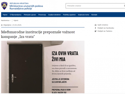 "Croatian Ministry of the Interior: International Institutions Recognize Importance of ""Behind the Doors"" Campaign"