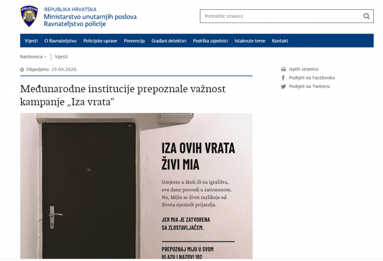 "Croatian Ministry Of The Interior: International Institutions Recognize Importance Of ""Behind the Door"" Campaign"