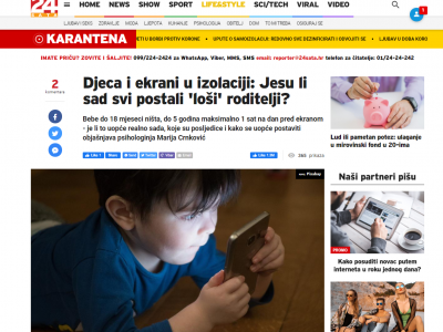 """24sata: """"Kids and screens in isolation: have everybody become 'bad' parents now?"""""""