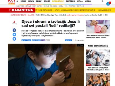 """24 sata: """"Djeca i ekrani u izolaciji: Jesu li sad svi postali 'loši' roditelji?"""""""