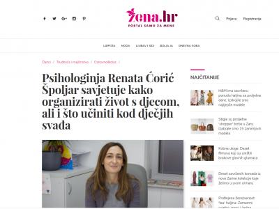 """Žena.hr: """"Psihologinja Renata Ćorić Špoljar savjetuje kako organizirati život s djecom, ali i što učiniti kod dječjih svađa"""""""