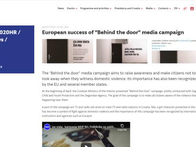 """EU2020HR: Europski uspjeh kampanje """"Iza ovih vrata živi Mia"""""""