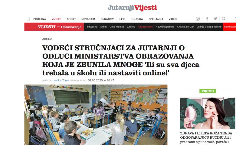 """Jutarnji list: """"Vodeći stručnjaci: 'Ili su sva djeca trebala u školu ili nastaviti online!'"""""""