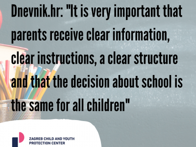 "Dnevnik.hr: ""It is very important that parents receive clear information, clear instructions, a clear structure and that the decision about school is the same for all children"""