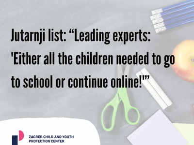 "Jutarnji list: ""Leading experts: 'Either all the children needed to go to school or continue online!'"""