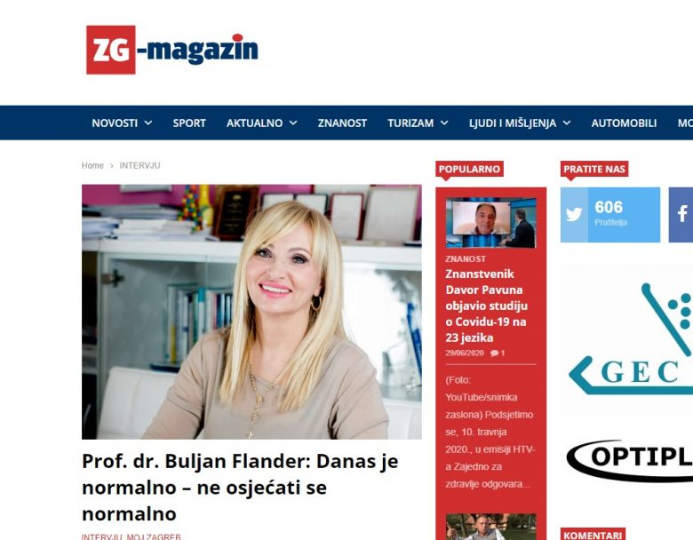 "ZG-magazine: ""Professor Buljan Flander: Today it is normal – not to feel normal"""