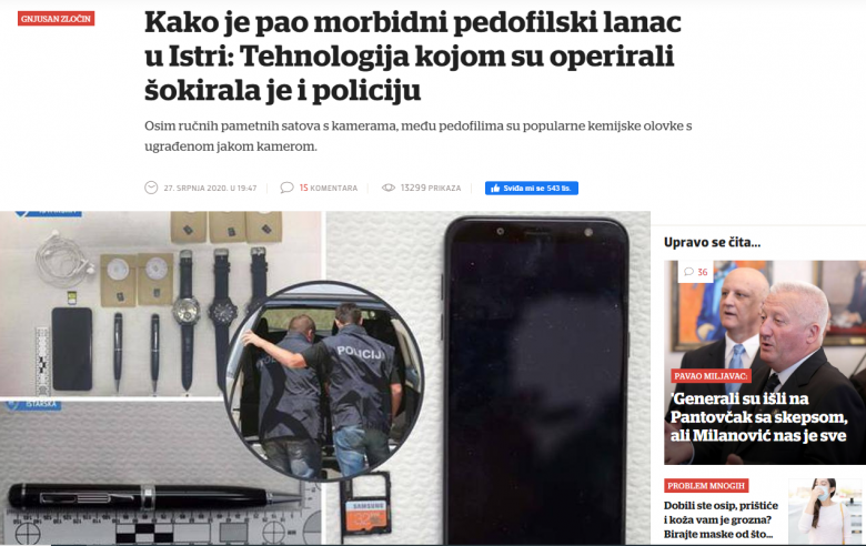"""Večernji list: """"How the morbid pedophile chain in Istria fell: The technology with which they operated shocked the police"""""""