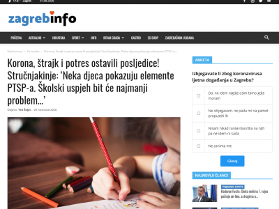 "Zagreb Info: ""COVID-19, strike and earthquake left consequences! Experts: 'Some children show elements of PTSD. School success will be the least of the problems… """