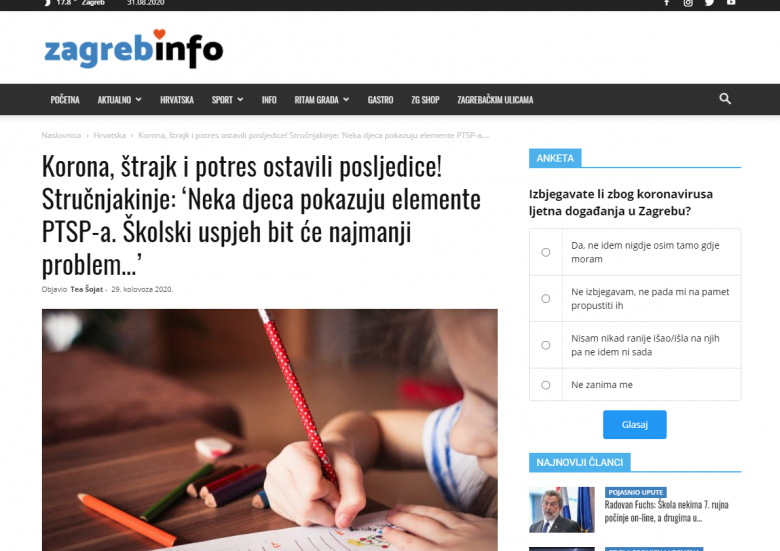 """Zagreb Info: """"COVID-19, strike and earthquake left consequences! Experts: 'Some children show elements of PTSD. School success will be the least of the problems… """""""