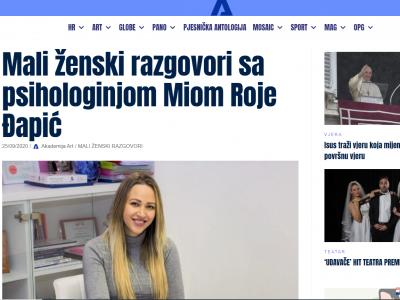 """Akademija-art.hr: """"Mali ženski razgovori sa psihologinjom Mijom Roje Đapić"""""""