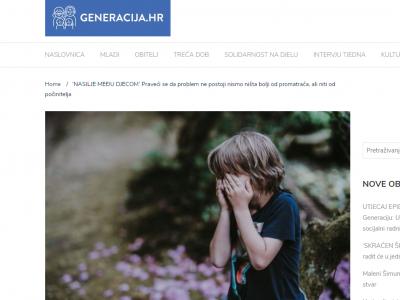 """Generacija.hr: """"NASILJE MEĐU DJECOM: Praveći se da problem ne postoji nismo ništa bolji od promatrača, ali niti od počinitelja"""""""