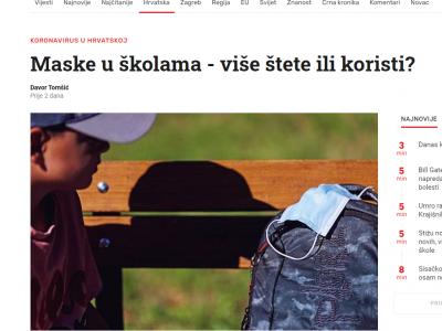 """Index.hr: """"Maske u školama – više štete ili koristi?"""""""