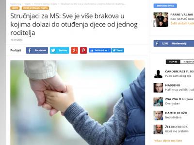 """Media servis: """"Sve je više brakova u kojima dolazi do otuđenja djece od jednog roditelja"""""""