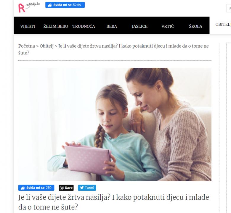 """Roditelji.hr: """"Je li vaše dijete žrtva nasilja? I kako potaknuti djecu i mlade da o tome ne šute?"""""""