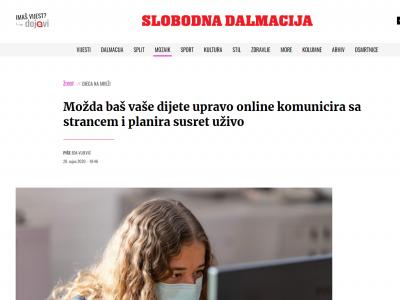 """Slobodna Dalmacija: """"Možda baš vaše dijete upravo online komunicira sa strancem i planira susret uživo"""""""
