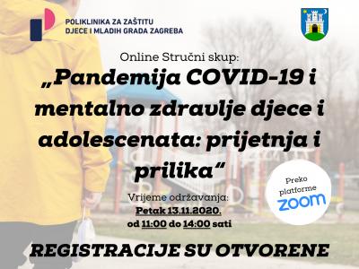 "Otvorene registracije za besplatni online stručni skup: ""Pandemija COVID-19 i mentalno zdravlje djece i adolescenata: prijetnja i prilika"""