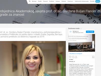 """Bernays.hr: """"Predsjednica Akademskog savjeta prof. dr. sc. Gordana Buljan Flander dobitnica je nagrade za znanost"""""""