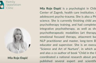 """Naša psihologinja u međunarodnom online kliničkom seminaru """"Relacijska trauma u razvodu i razdvajanju roditelja"""" pod vodstvom Karen Woodall"""