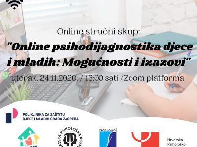 """POZIV PSIHOLOZIMA: Do sutra u 12 sati se možete prijaviti  za besplatni online stručni skup """"Online psihodijagnostika djece i mladih: Mogućnosti i izazovi"""""""