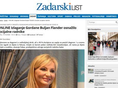 "Zadarski list: ""Online izlaganje Gordane Buljan Flander osnažilo socijalne radnike"""