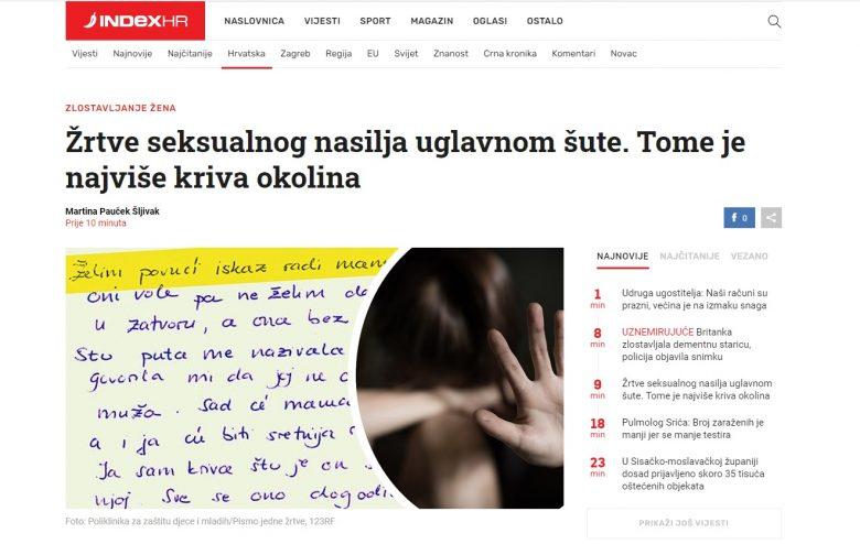 """Index.hr: """"Žrtve seksualnog nasilja uglavnom šute. Tome je najviše kriva okolina"""""""