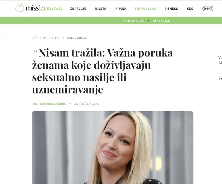 """Miss7Zdrava: """"#Nisam tražila: Važna poruka ženama koje doživljavaju seksualno nasilje ili uznemiravanje"""""""